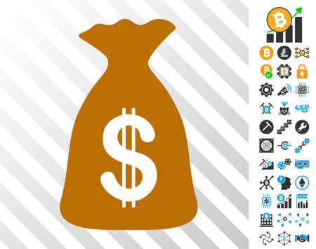 Pictograma dos cartões de jogo do saco do dinheiro com ícones da mineração e do blockchain do bitcoin do bônus. Estilo de vetor plana para software de bitcoin. Foto de archivo - 93531127