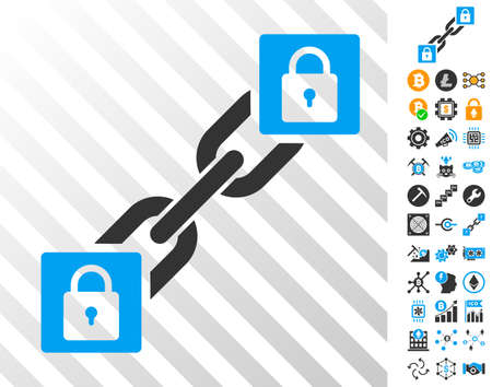 Lock Blockchain playing cards icon with additional bitcoin mining and blockchain images.