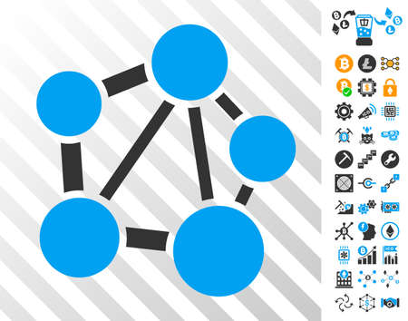 Network playing cards pictograph with bonus bitcoin mining and blockchain images. Flat vector elements for crypto-currency apps.