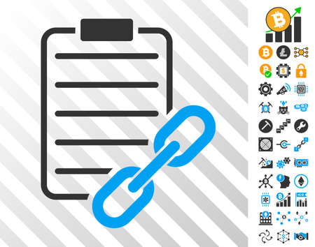 Blockchain Contract playing cards pictogram with bonus bitcoin mining and blockchain graphic icons. Flat vector graphics for crypto-currency websites.