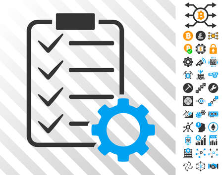 Smart Contract Gear playing cards icon with additional bitcoin mining and blockchain pictographs. Flat vector icons for blockchain toolbars. Vectores