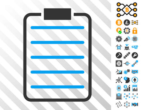 List Page playing cards icon with additional bitcoin mining and blockchain images. Flat vector symbols for blockchain toolbars.