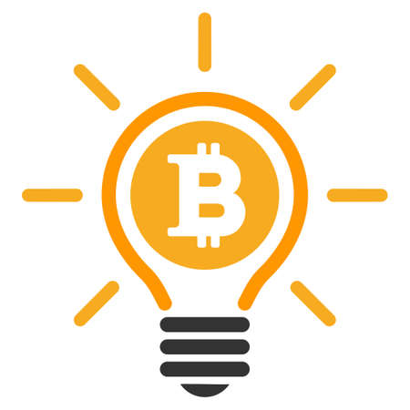 Bitcoin Bulb Rays vector icon. Style is flat graphic symbol.