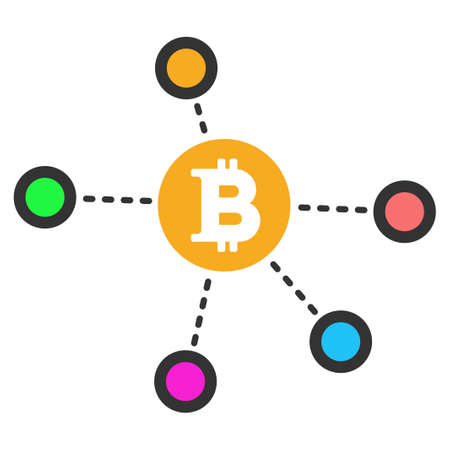 Bitcoin Net Nodes vector icon. Style is flat graphic symbol.