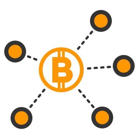 Bitcoin Network Links vector icon. Style is flat graphic symbol.