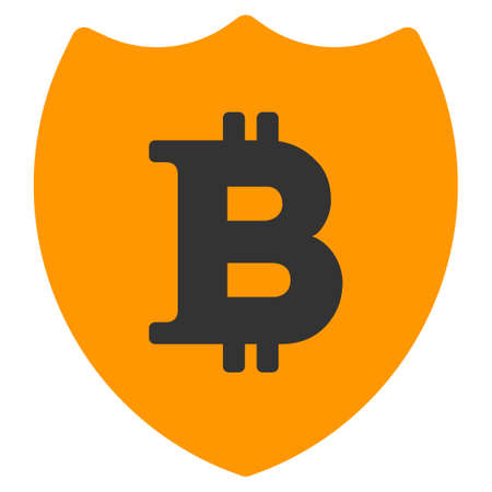 Bitcoin Shield vector icon. Style is flat graphic symbol.