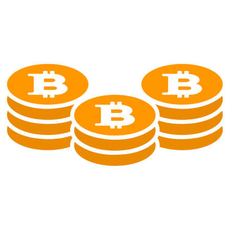 Bitcoin Coin Stacks vector icon. Style is flat graphic symbol. Ilustracja