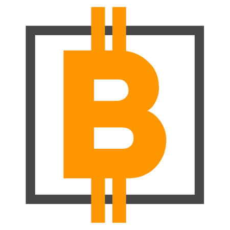 Bitcoin Square vector icon. Style is flat graphic symbol.