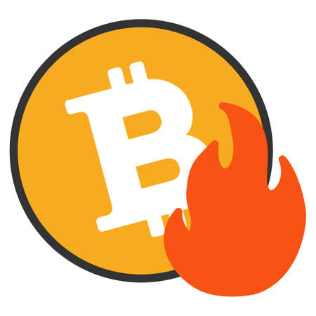 Bitcoin Fire vector icon. Style is flat graphic symbol.