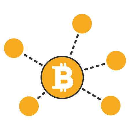 Bitcoin Net Elements vector icon. Style is flat graphic symbol.