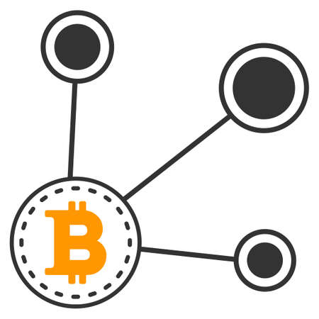 Bitcoin Node Connect vector icon. Style is flat graphic symbol. Ilustracja