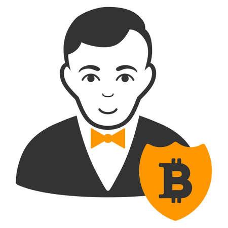 Bitcoin User Shield vector icon. Style is flat graphic symbol. Illustration