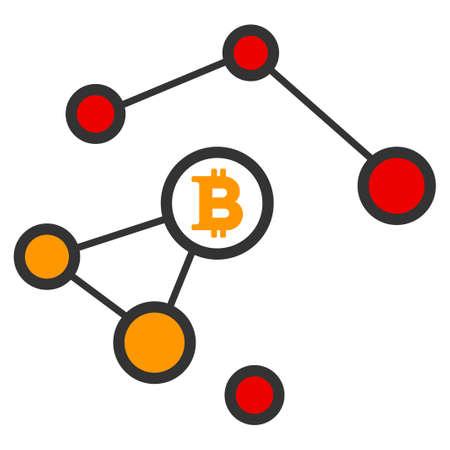 Bitcoin 손상된 네트워크 벡터 아이콘입니다. 스타일은 평면 그래픽 심볼입니다. 일러스트