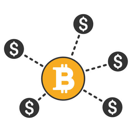 Bitcoin Dollar Network vector icon. Style is flat graphic symbol. Illustration