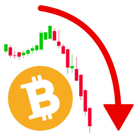 Bitcoin Epic Fail Trend vector icon. Style is flat graphic symbol.
