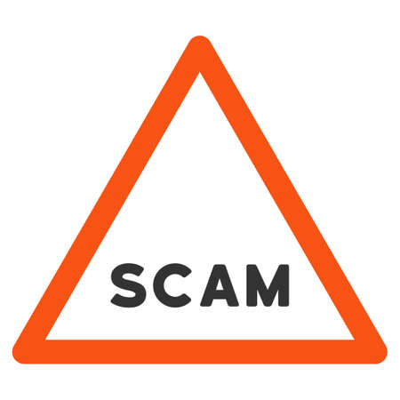 Scam Warning vector icon. Style is flat graphic symbol.