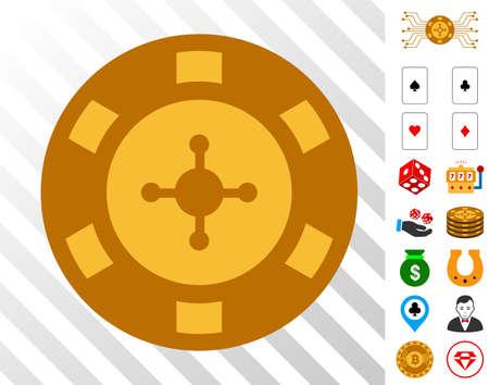 Casino Chip icon with bonus gamble symbols. Vector illustration style is flat iconic symbols.