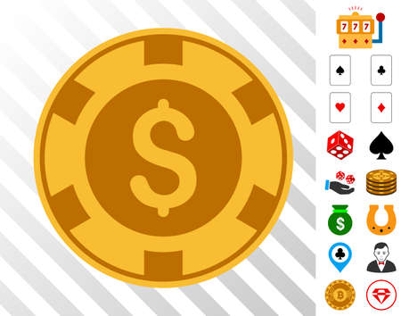 Casino Chip icon with bonus gamble pictures. Vector illustration style is flat iconic symbols. Designed for gamble apps.