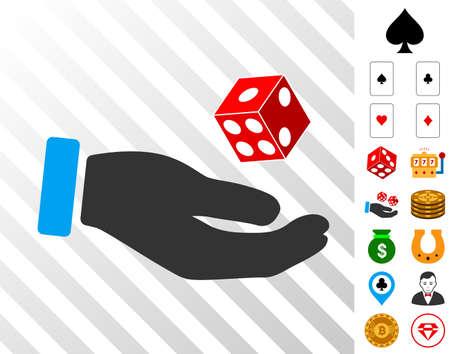 Hand Play Dice pictograph with bonus gamble symbols. Vector illustration style is flat iconic symbols.