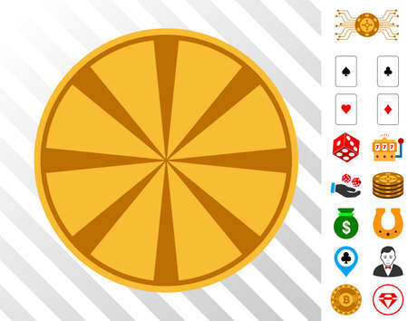 Casino Chip icon with bonus gambling images. Vector illustration style is flat iconic symbols. Designed for gamble software.