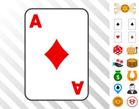 Diamonds Ace Playing Cards pictograph with bonus gambling design elements. Vector illustration style is flat iconic symbols. Designed for gambling software.