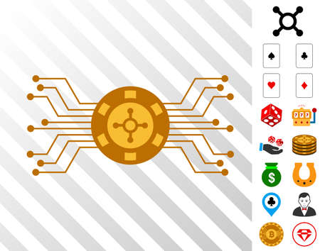 Electronic Roulette icon with bonus gamble graphic icons. Vector illustration style is flat iconic symbols. Designed for gamble software.