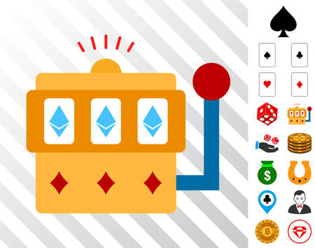 Ethereum One-Armed Bandit icon with bonus casino graphic icons. Vector illustration style is flat iconic symbols. Designed for gambling gui. Çizim