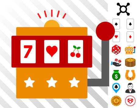 One-Armed Bandit pictograph with bonus casino pictograms. Vector illustration style is flat iconic symbols. Designed for gamble ui.