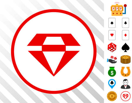 Ruby Gem icon with bonus casino symbols. Vector illustration style is flat iconic symbols. Designed for gamble websites.