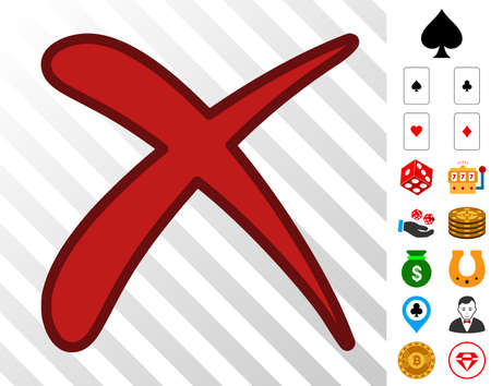Erase pictograph with bonus gambling clip art. Vector illustration style is flat iconic symbols. Designed for gamble ui. Ilustração