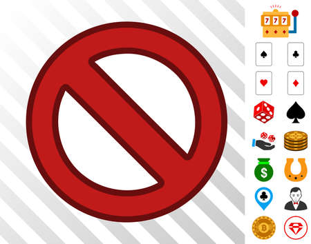 Forbidden pictograph with bonus casino pictures vector illustration style is flat iconic symbols designed for gamble gui.