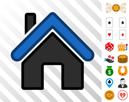 Home icon with bonus gambling pictographs vector illustration style is flat iconic symbols designed for gamble websites. Illustration
