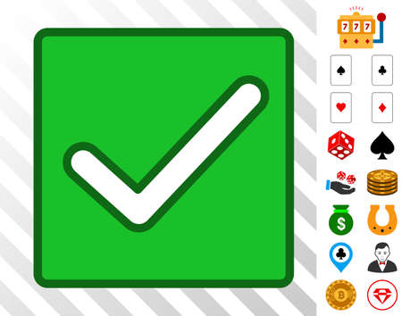Valid Checkbox icon with bonus gamble images. Vector illustration style is flat iconic symbols. Designed for gamble websites. Illustration
