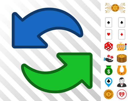 Update arrows icon with bonus gambling icons vector illustration style is flat iconic symbols designed for gambling gui. Stock Illustratie