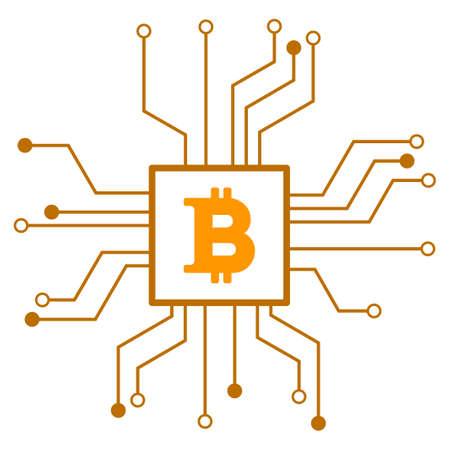 Bitcoin Processor Circuit raster icon. Style is flat graphic symbol.