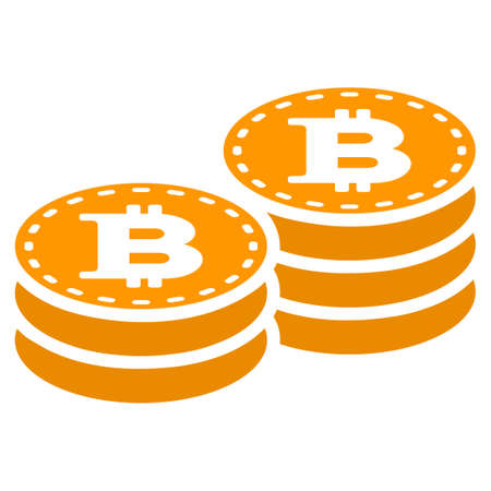 Bitcoin Coin Stacks raster icon. Style is flat graphic symbol. Zdjęcie Seryjne