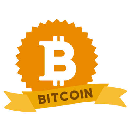 Bitcoin Reward Ribbon raster icon. Style is flat graphic symbol.