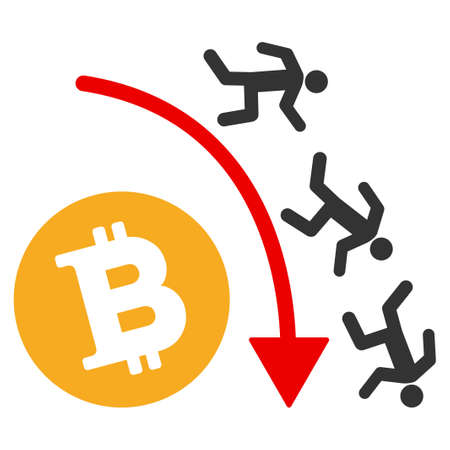 Falling Bitcoin Traders Trend raster icon. Style is flat graphic symbol. Stock Photo
