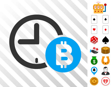 Bitcoin Credit Clock pictograph with bonus gambling pictures. Vector illustration style is flat iconic symbols. Designed for casino websites.