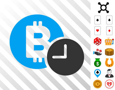 Bitcoin Credit Time pictograph with bonus casino graphic icons. Vector illustration style is flat iconic symbols. Designed for casino software.