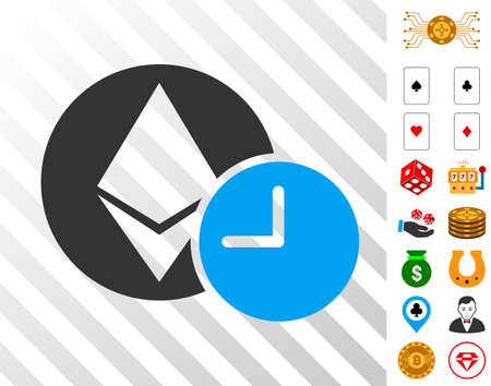 Ethereum Credit Clock pictograph with bonus gambling images. Vector illustration style is flat iconic symbols. Designed for gambling ui.