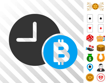 Bitcoin Credit Clock icon with bonus gamble graphic icons. Vector illustration style is flat iconic symbols. Designed for casino websites.
