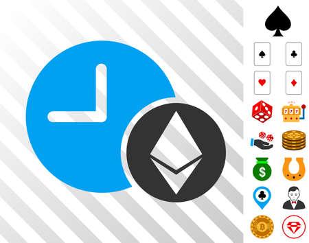 Ethereum Credit Clock icon with bonus gambling design elements. Vector illustration style is flat iconic symbols. Designed for gambling ui. Illustration