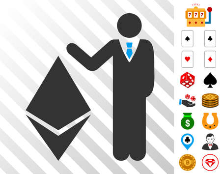 Banker Show Ethereum pictograph with bonus gambling icons. Vector illustration style is flat iconic symbols. Designed for gamble software. Illustration