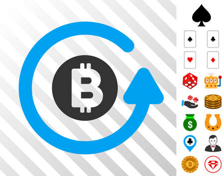 Bitcoin Chargeback pictograph with bonus casino graphic icons. Vector illustration style is flat iconic symbols. Designed for gambling gui.