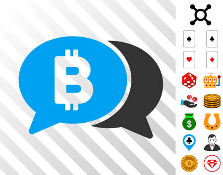 Bitcoin Chat icon with bonus gambling icons. Vector illustration style is flat iconic symbols. Designed for casino ui. Illustration