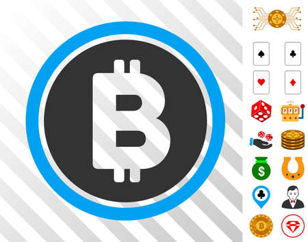 Bitcoin Coin pictograph with bonus gamble pictographs. Vector illustration style is flat iconic symbols. Designed for casino apps.
