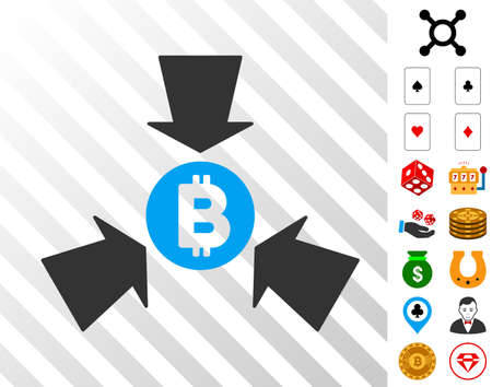 Bitcoin Collect Arrows icon with bonus gambling icons. Vector illustration style is flat iconic symbols. Designed for gamble software. Illustration