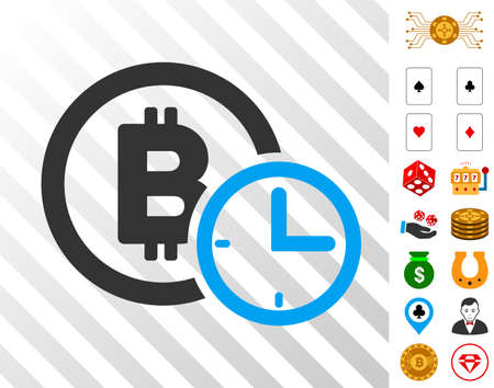 Bitcoin Credit Time pictograph with bonus casino clip art. Vector illustration style is flat iconic symbols. Designed for casino gui.