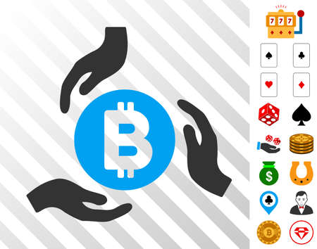 Bitcoin Care Hands pictograph with bonus casino clip art. Vector illustration style is flat iconic symbols. Designed for gamble gui. Illustration